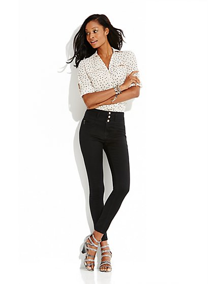 Soho Jeans High-Waist Ankle Legging - Black - New York & Company