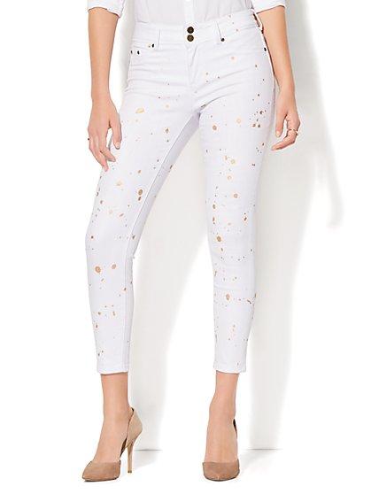 Soho Jeans - High-Waist Ankle Legging - White - New York & Company