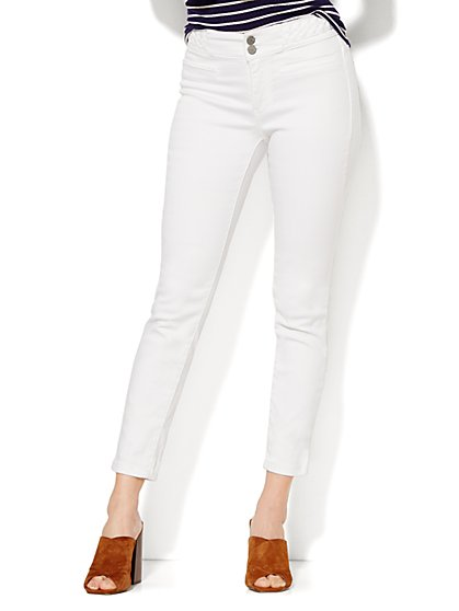 Soho Jeans High-Waist Ankle SuperStretch Legging - Braided Trim - New York & Company
