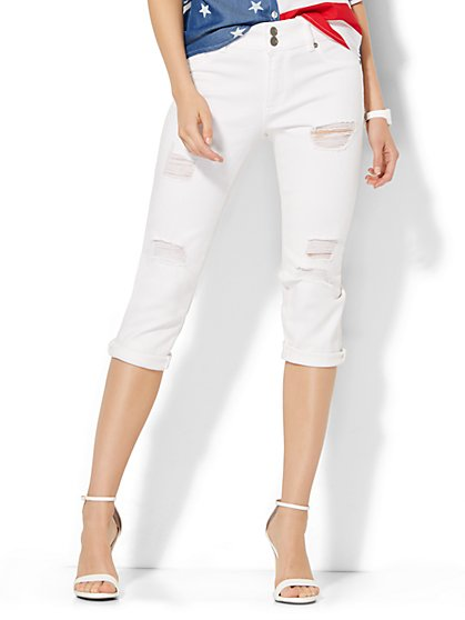 Soho Jeans High-Waist Crop SuperStretch Legging - Optic White  - New York & Company
