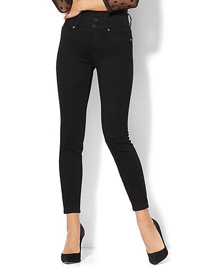 Soho Jeans - High-Waist Curvy Ankle Legging - Black - New York & Company