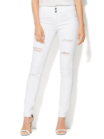 Soho Jeans -  High-Waist Destroyed SuperStretch Legging - Optic White  - New York & Company