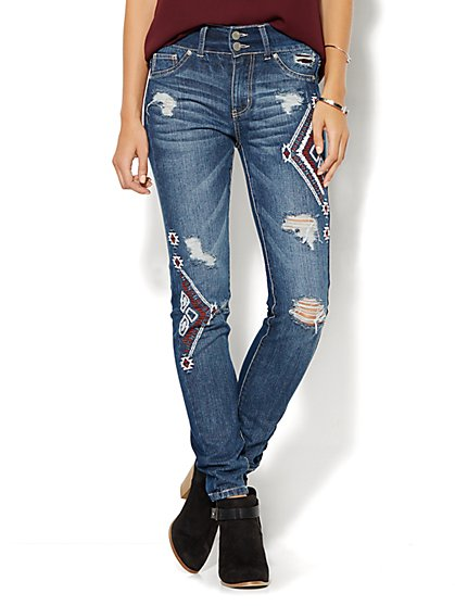 Soho Jeans - High-Waist Legging - Destroyed - Aztec - Indigo Blue Wash  - New York & Company