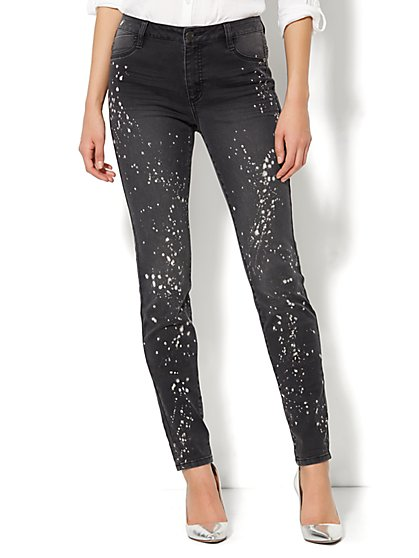 Soho Jeans High-Waist Legging - Splatter Print  - New York & Company
