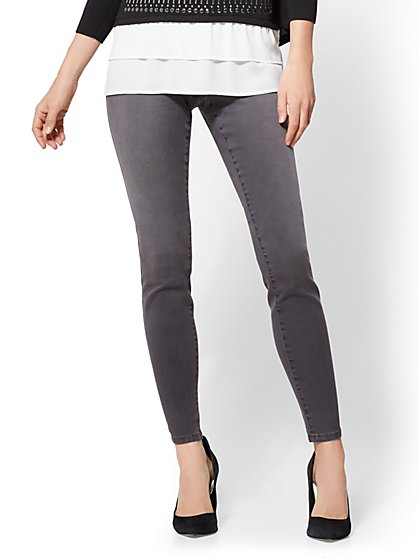 Soho Jeans - High-Waist Pull-On Legging - Medium Heather Grey - New York & Company