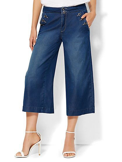 Soho Jeans - High-Waist Sailor Culotte - Emerson Blue Wash  - New York & Company