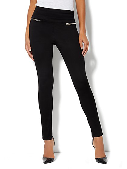 Soho Jeans High-Waist Zip-Back Legging - Black - New York & Company
