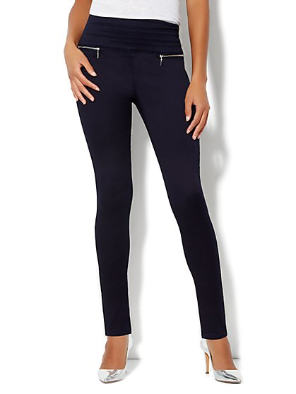 Soho Jeans High-Waist Zip-Back Legging - Indigo Blue Wash