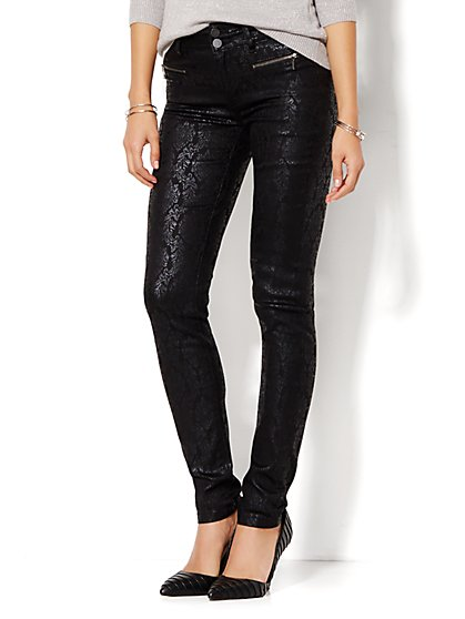 Soho Jeans - Jacquard-Print High-Waist Legging - Black  - New York & Company