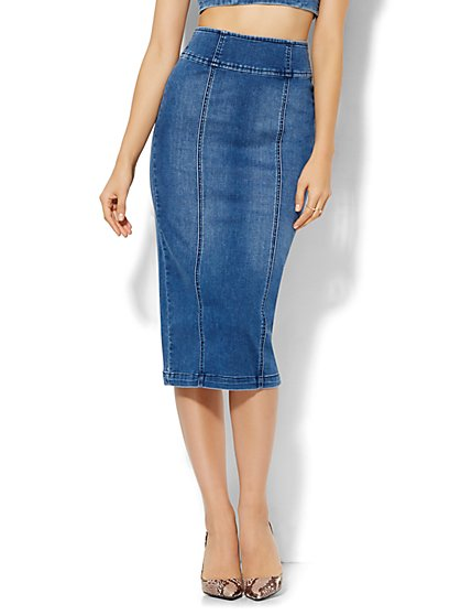 Soho Jeans - Jennifer Hudson Denim Skirt - Wellness Blue Wash  - New York & Company
