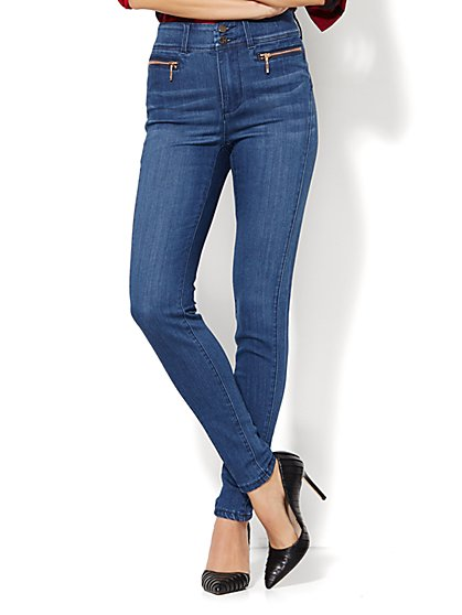 Soho Jeans - Jennifer Hudson High-Waist Legging  - Rich Indigo Blue Wash - Petite - New York & Company