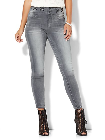 Soho Jeans - Jennifer Hudson Lace-Up Curvy Legging - Soft Rock Grey Wash  - New York & Company