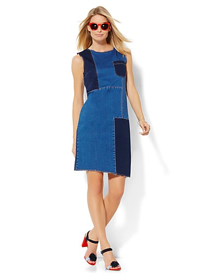 Soho Jeans - Jennifer Hudson Patchwork Shift Dress - Blue Daze Wash  - New York & Company