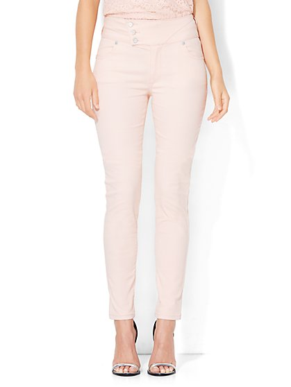 Soho Jeans - Jennifer Hudson Stacked-Button High-Waist Legging - Sweet Macaron   - New York & Company