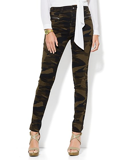Soho Jeans - Jennifer Hudson Wraparound-Zip High-Waist Legging - Camouflage Print  - New York & Company