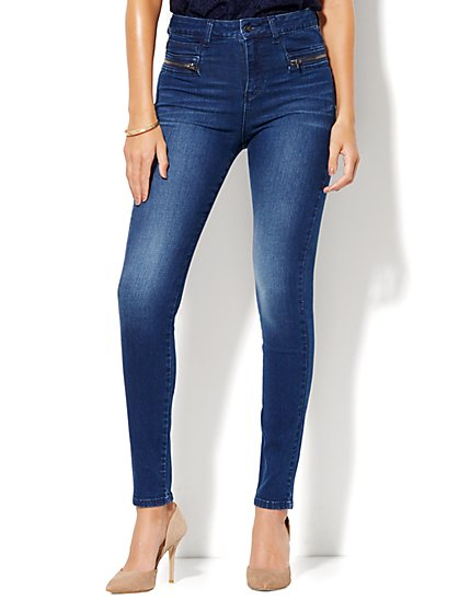 Soho Jeans - Jennifer Hudson Wraparound-Zip High-Waist Legging - Dynamite Blue  - New York & Company