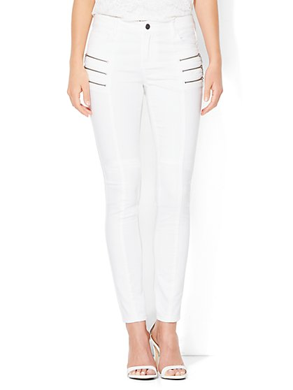 Soho Jeans - Jennifer Hudson Zip Accent High-Waist Legging - White  - New York & Company