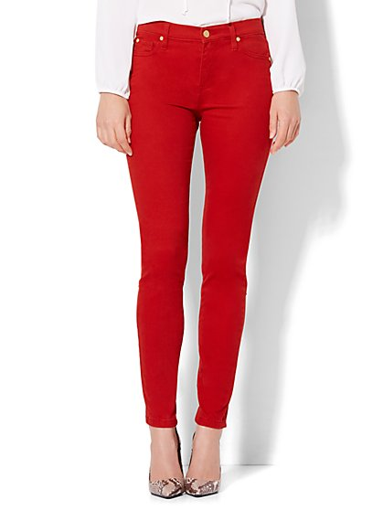Soho Jeans - Jennifer Hudson Zip-Accent Legging - Red  - New York & Company