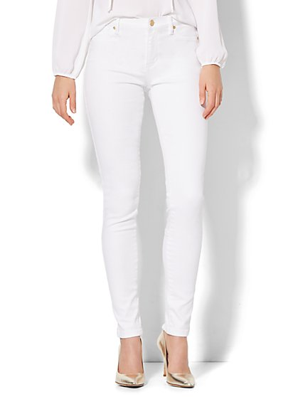 Soho Jeans - Jennifer Hudson Zip-Accent Legging - White  - New York & Company