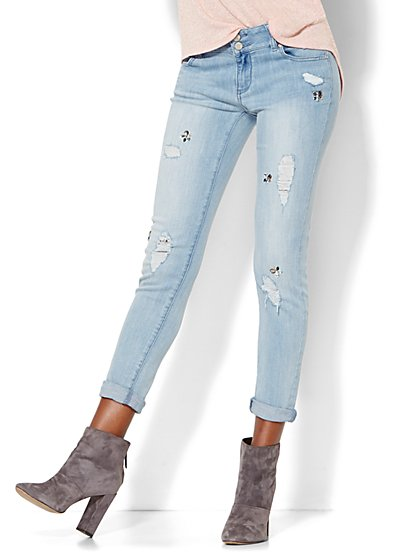 Soho Jeans - Jeweled Destroyed Boyfriend - Diamond Blue Wash  - New York & Company