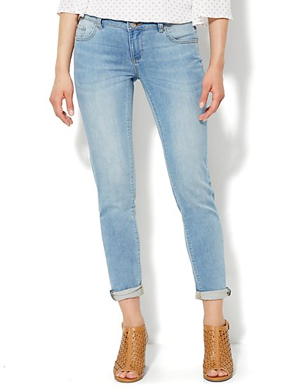 Soho Jeans Knit Denim - Boyfriend - Jagged Blue Wash  - New York & Company
