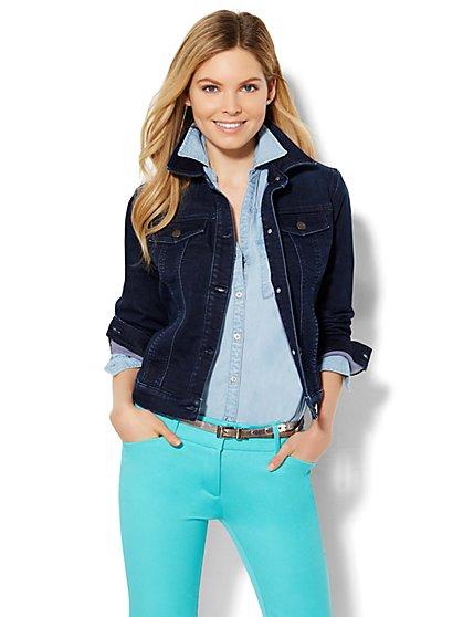 Soho Jeans - Knit Denim Jacket - Dark Blue Wash  - New York & Company