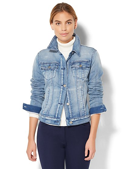 Soho Jeans - Knit Denim Jacket - Light Indigo Wash  - New York & Company