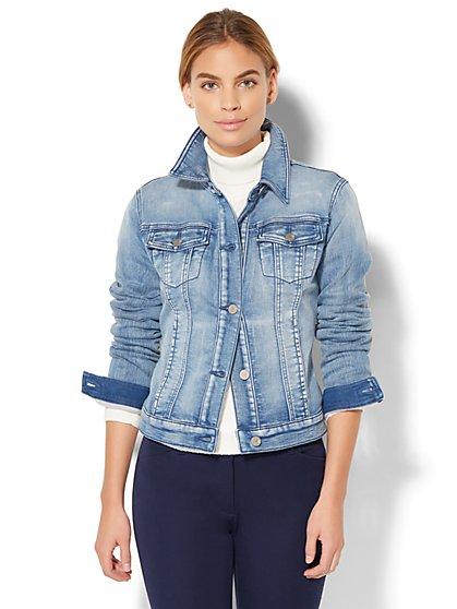 Soho Jeans - Knit Denim Jacket - Light Indigo Wash  - New York & Company