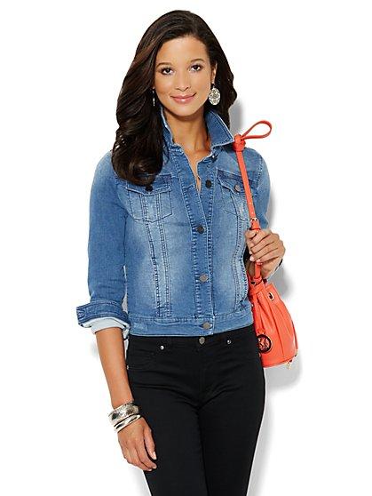 Soho Jeans - Knit Denim Jacket - Light Indigo - New York & Company