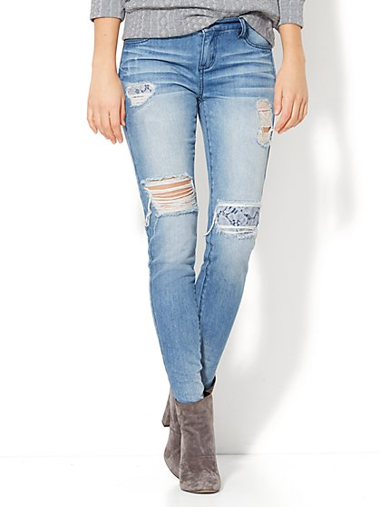 Soho Jeans - Lace Accent Destroyed  Legging - Indigo Blue Wash - New York & Company