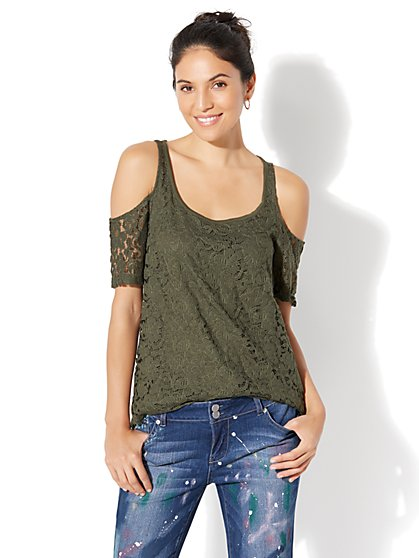 Soho Jeans Lace Cold-Shoulder Top - New York & Company