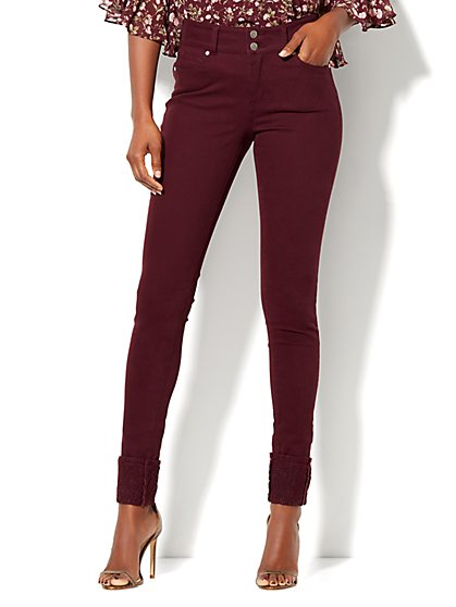 Soho Jeans - Lace-Overlay Superstretch Legging -  Burgundy  - New York & Company