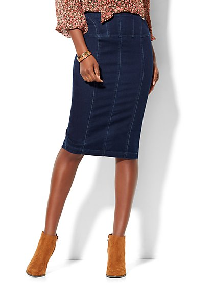 Soho Jeans - Lace-Up Denim Pencil Skirt - Rinse  - New York & Company