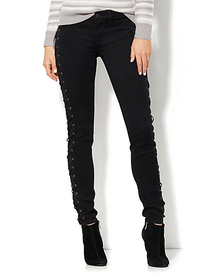 Soho Jeans - Lace-Up Legging - Black  - New York & Company