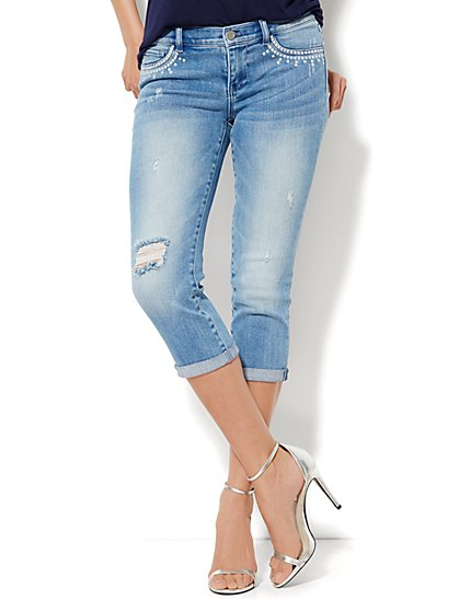 Soho Jeans Legging - Crop - Sanded Blue Wash  - New York & Company