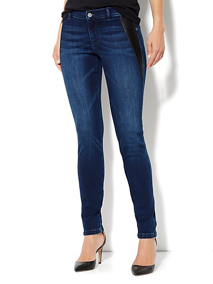 Soho Jeans Legging - Faux-Leather Inset - Indigo Blue Wash - New York & Company