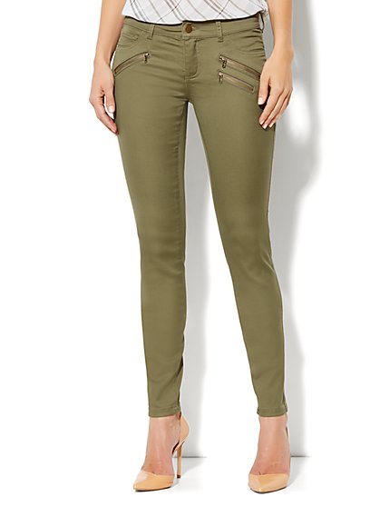 Soho Jeans Legging - Zip-Detail - Union Square Green - New York & Company