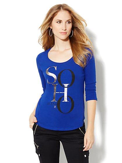 Soho Jeans Logo Scoopneck Tee-Shirt - New York & Company