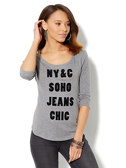 Soho Jeans Logo Tee-Shirt - Grey - New York & Company