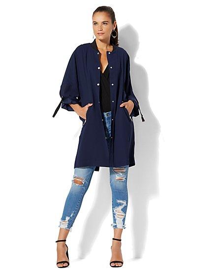Soho Jeans - Long Bomber Jacket - New York & Company