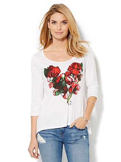 Soho Jeans - Long-Sleeve Rose Heart Tee  - New York & Company