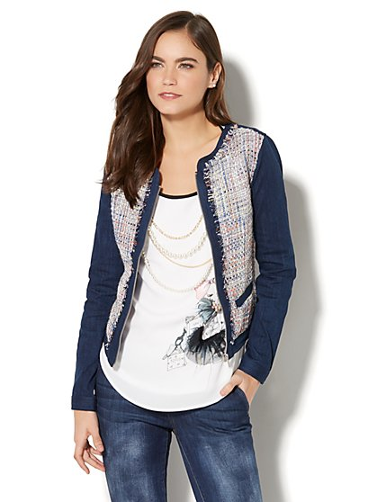 Soho Jeans - Metallic Tweed-Accent Denim Jacket - New York & Company
