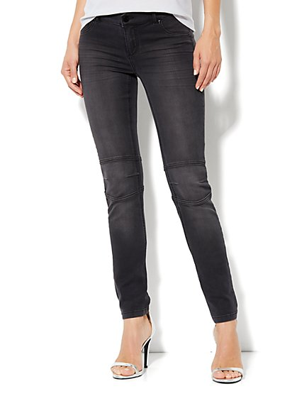 Soho Jeans Moto Legging - Black Asphalt Wash - New York & Company