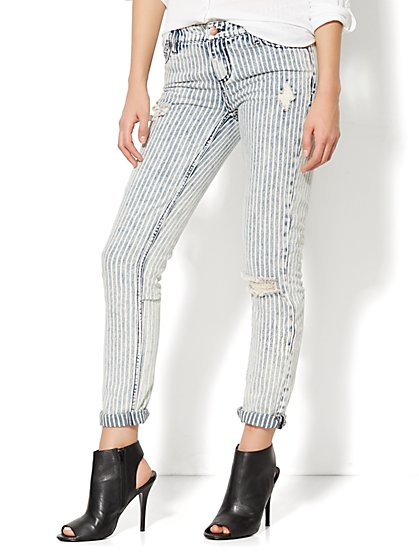 Soho Jeans - NY Boyfriend - Railroad Stripe Destroyed Jean  - New York & Company