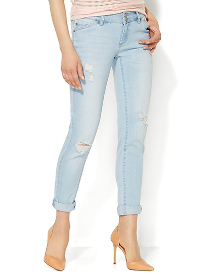 Soho Jeans - NY Shredded Boyfriend - White Wash Blue  - New York & Company