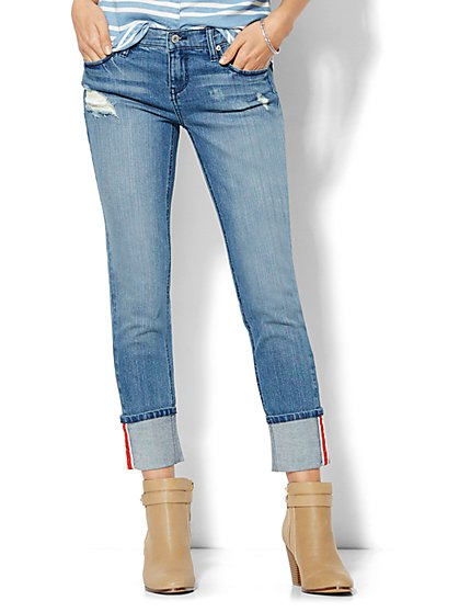 Soho Jeans - New York Boyfriend Extreme Cuff - Blue Mink Wash  - New York & Company