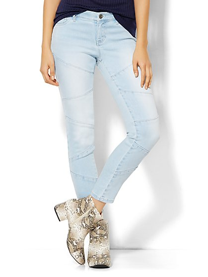 Soho Jeans - Patchwork Ankle Legging - Futurist Blue Wash  - New York & Company