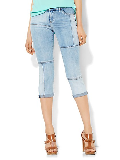 Soho Jeans - Patchwork Crop Legging - Fearless Blue Wash  - New York & Company