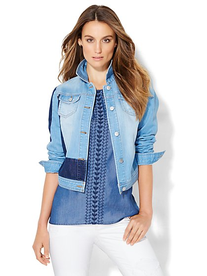 Soho Jeans - Patchwork Denim Jacket  - New York & Company