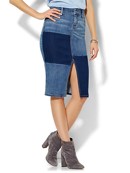 Soho Jeans - Patchwork Denim Pencil Skirt - Blue Mink Wash  - New York & Company